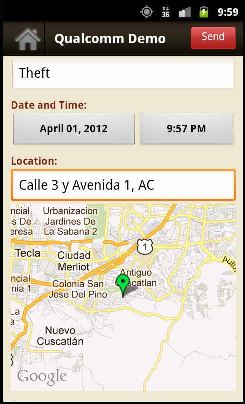 Mobile application screen display showing a new report being entered with automatic GPS location.